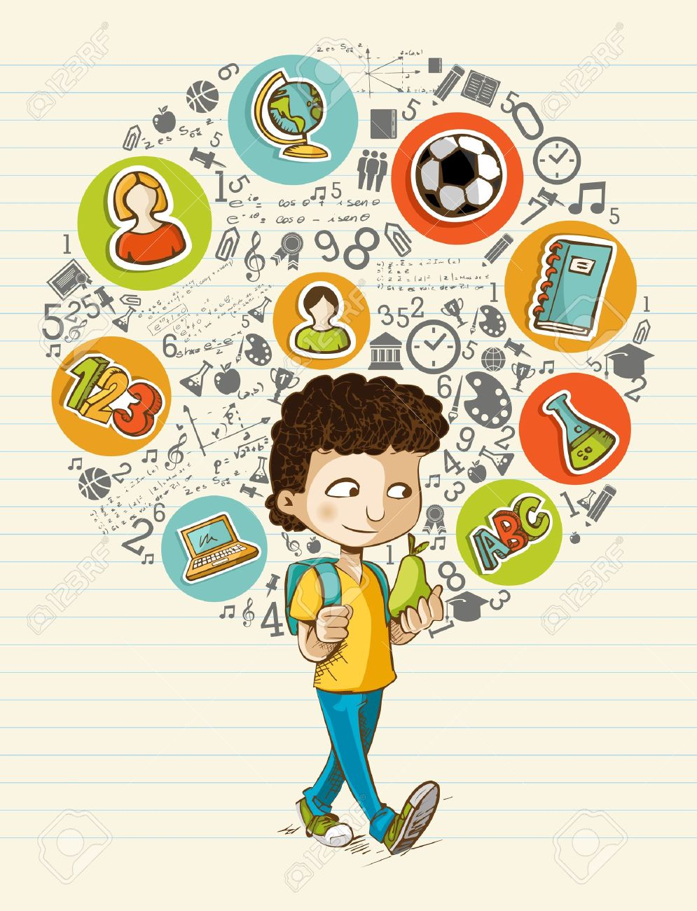 Education back to school cartoon boy colorful global icons. - 21508151