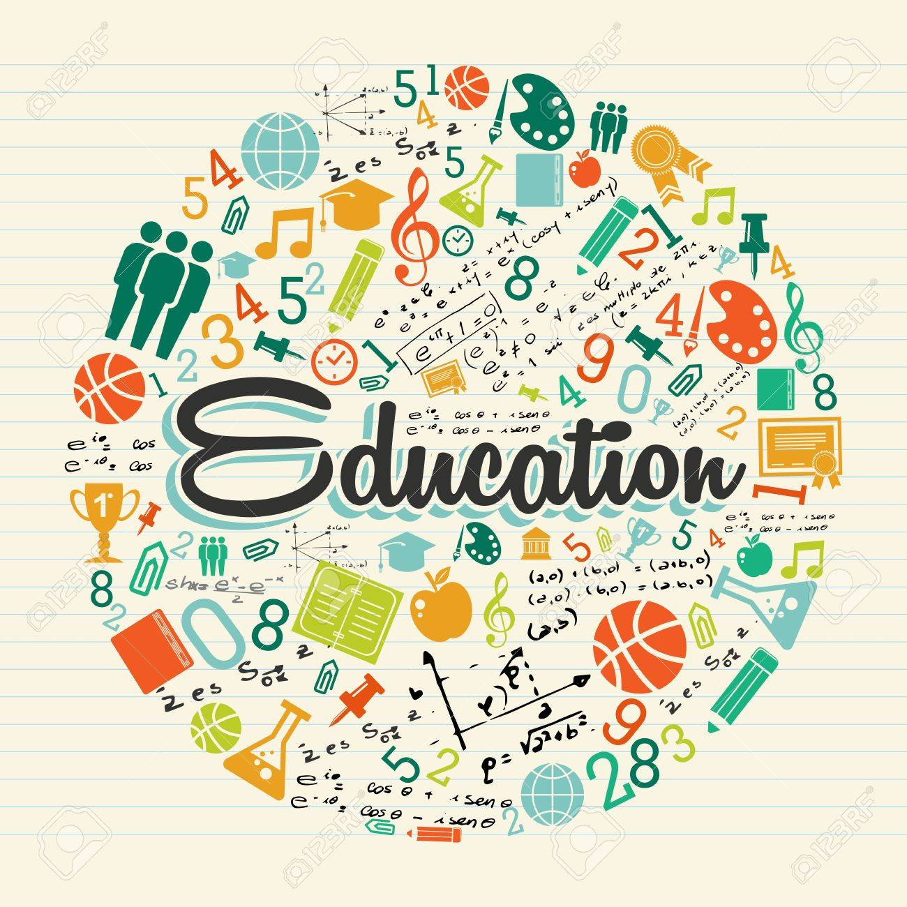 Back to school global icons education text over paper sheet background. - 21508154