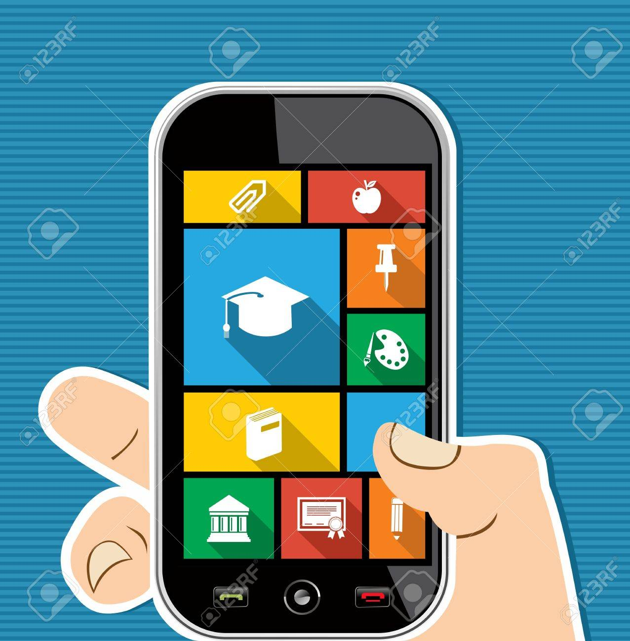 Back to school human hand holds a smart phone internet applications graphic user interface flat icons set. Vector layered for easy editing. Stock Vector - 21599785