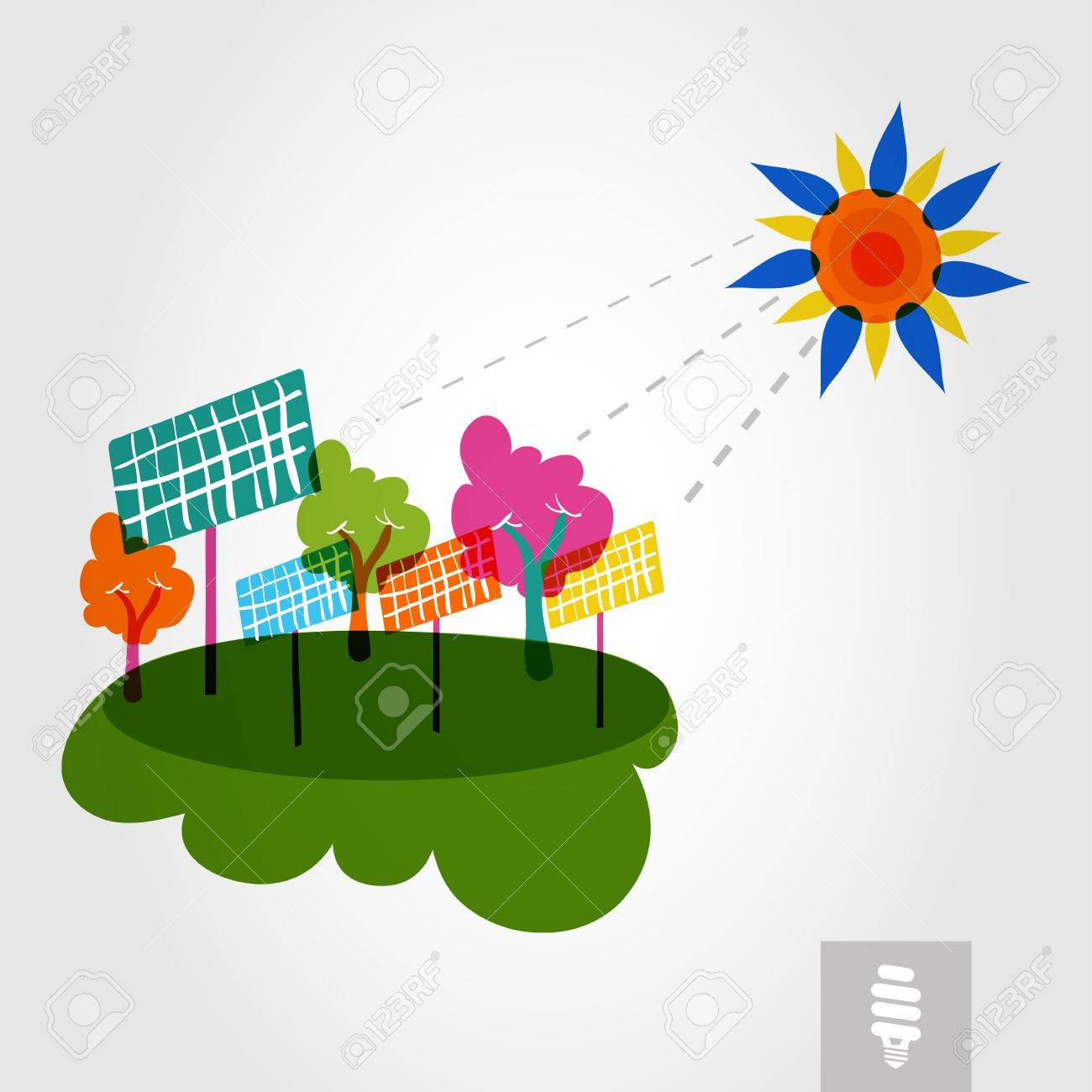 Go Green Colorful City Sun, Solar Panels And Trees. Industry ...