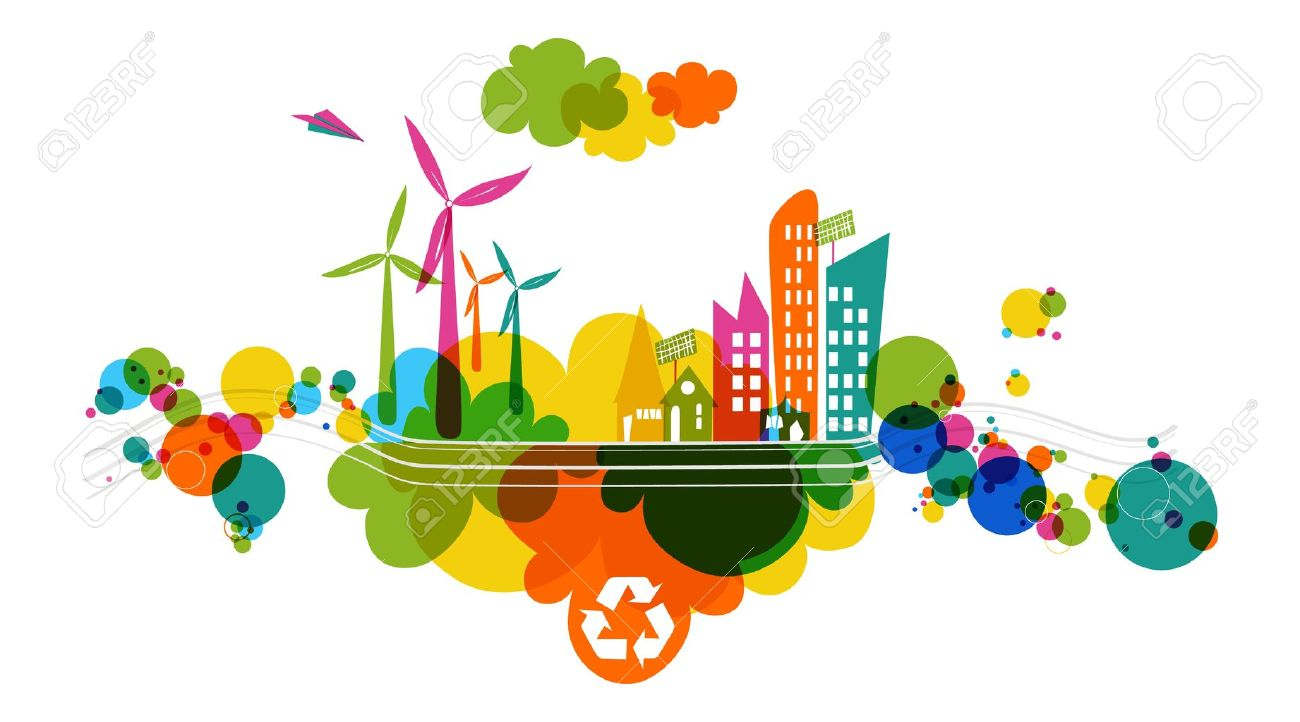 Go green colorful city. Industry sustainable development with environmental conservation background illustration. Vector file layered for easy editing. - 21600010