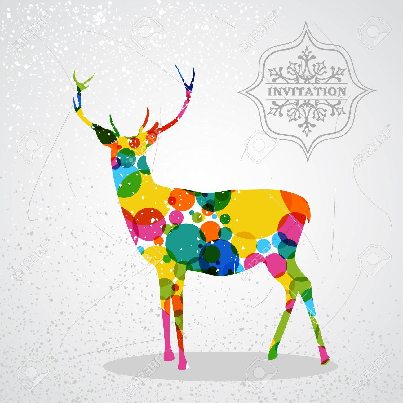 Trendy Christmas Colorful Reindeer Transparent Geometric Elements Grunge Background Vector With Transparency Organized In Layers