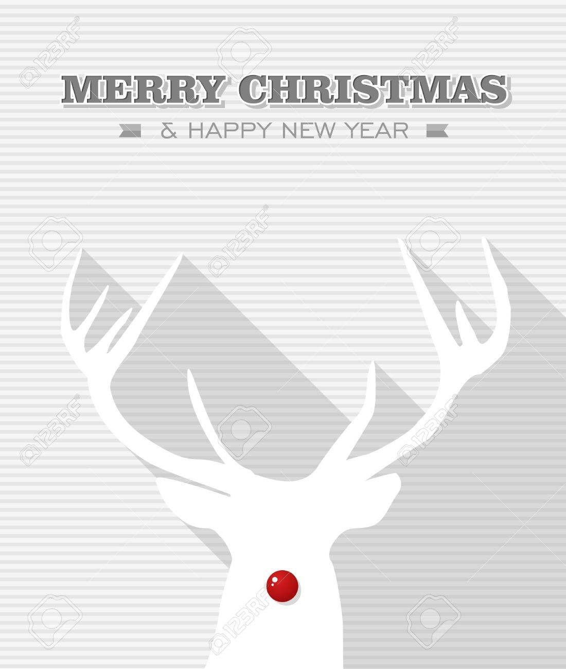 Merry Christmas and happy new year, Rudolph reindeer red dot nose  Vector file layered for easy editing Stock Vector - 21600226