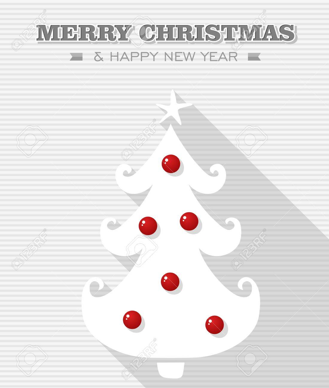 Merry Christmas and happy new year, Rudolph reindeer red dot nose bauble tree  Vector file layered for easy editing Stock Vector - 21600230