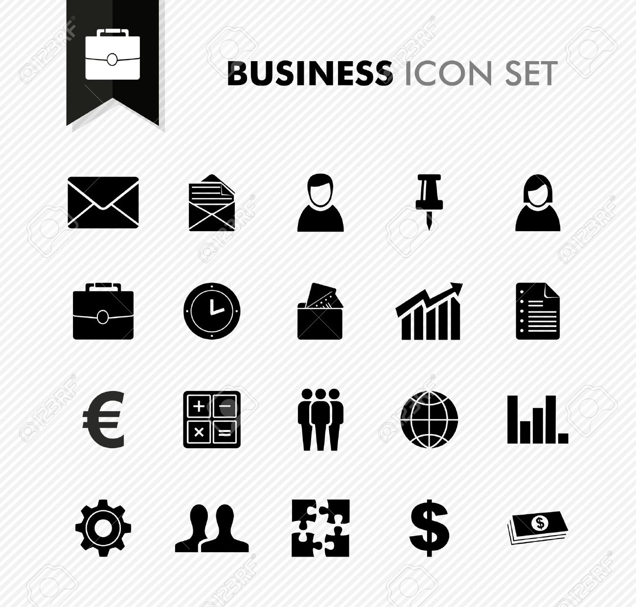 Black isolated business icon set work office elements background illustration. Stock Vector - 21760071