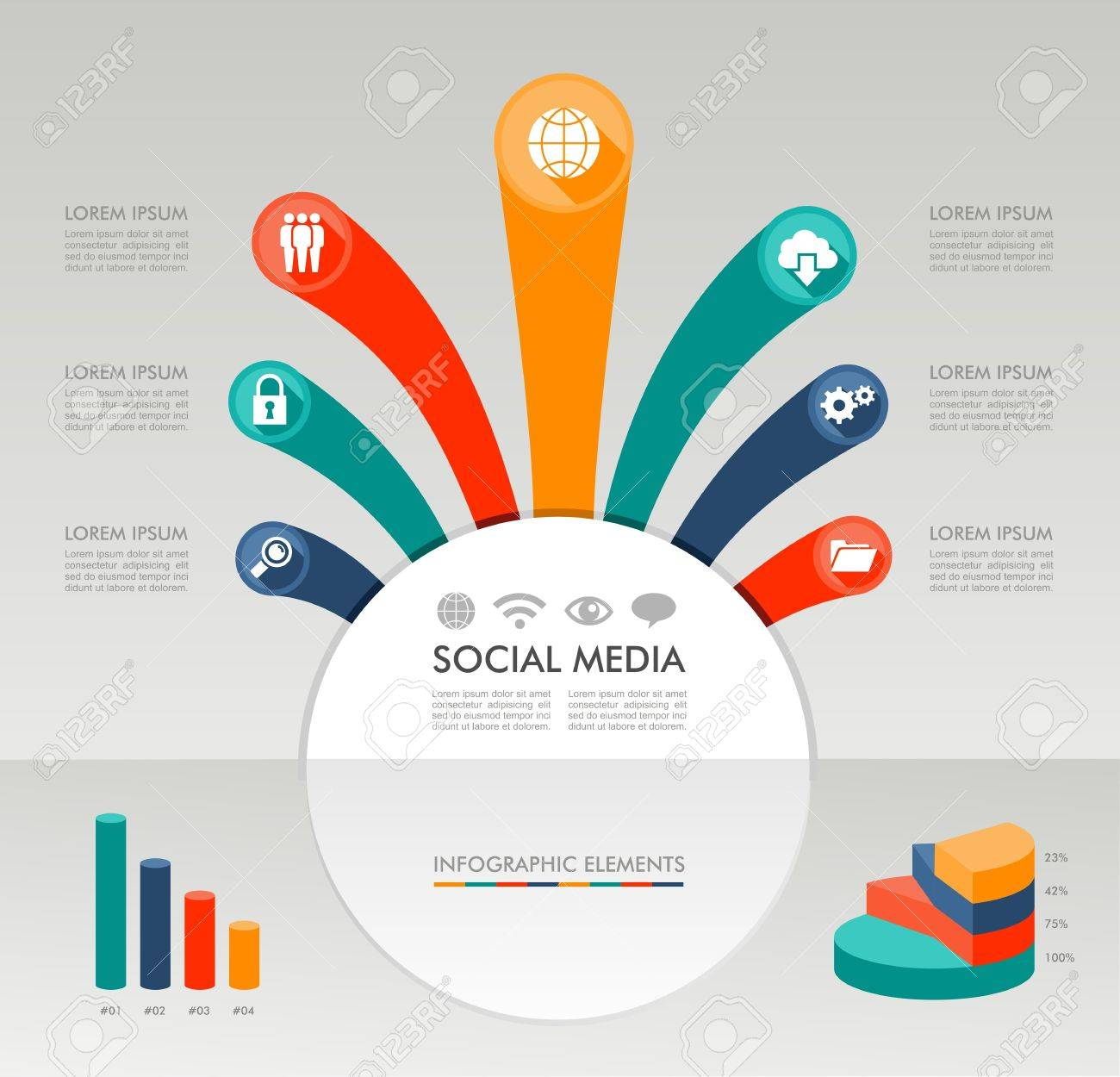 Social media networks infographic diagram with information social media networks infographic diagram with information graphics elements set vector file in layers for ccuart Images