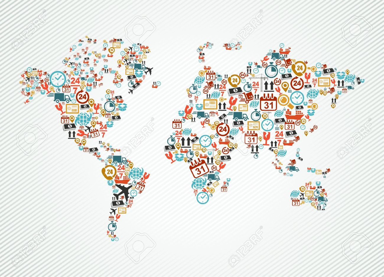Shipping And Delivery Icons In World Map Shape Illustration - World map shape