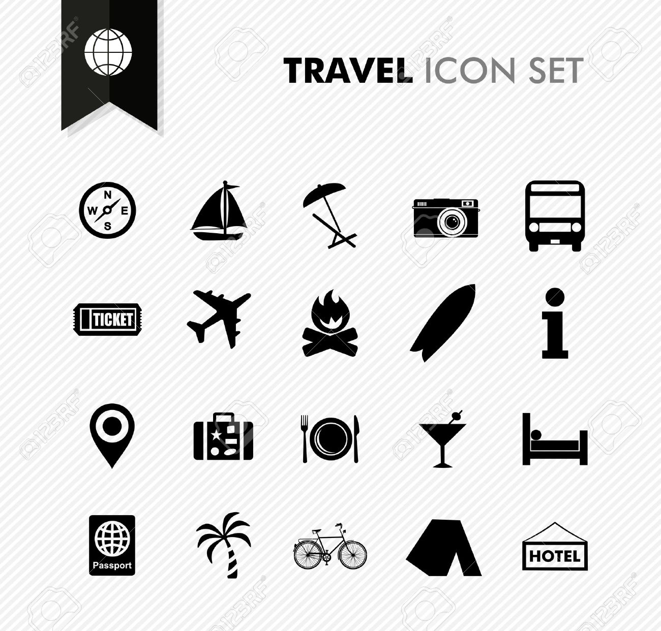 Modern travel vacations and holidays icon set. Vector file in layers for easy editing. Stock Vector - 21821273