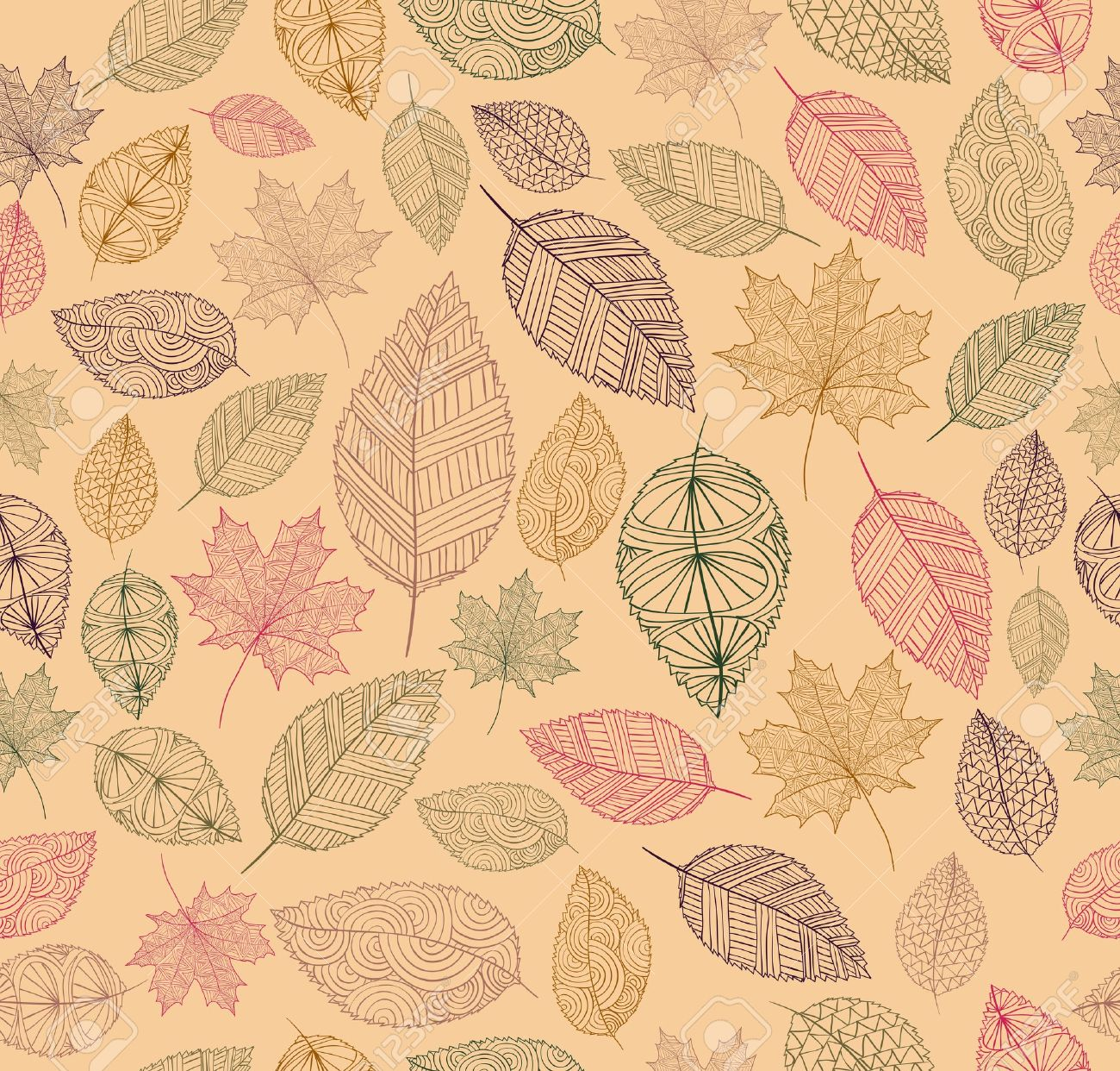 Hand drawn tree leaves seamless pattern background.  Autumn season concept Stock Vector - 21909986