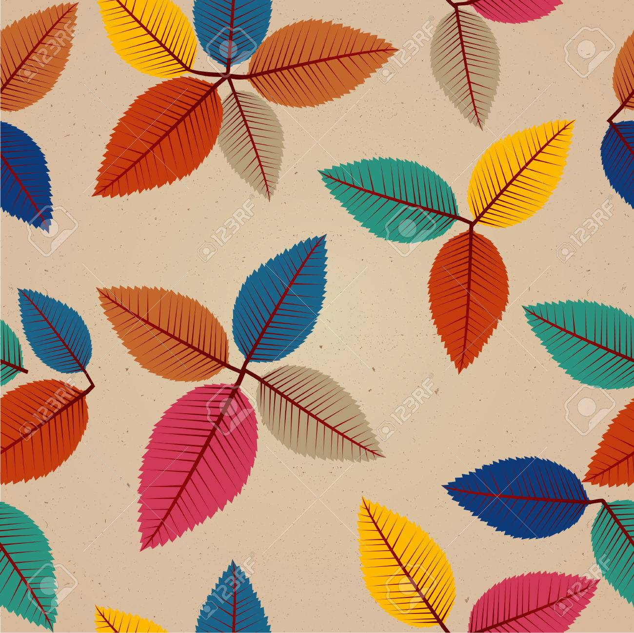 Colorful vintage autumn tree leaves seamless pattern background Stock Vector - 22187812