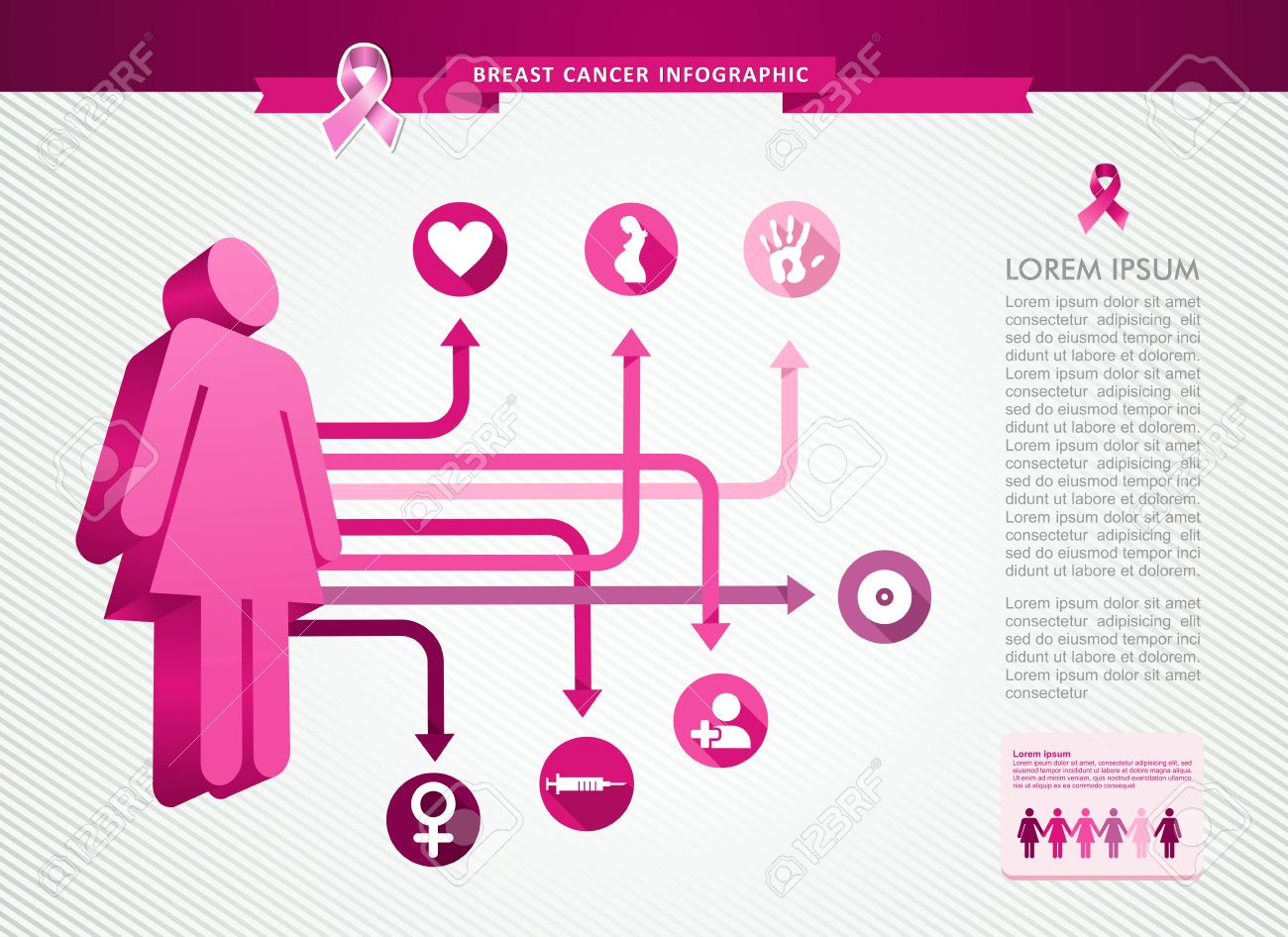 Breast Cancer Awareness Infographics Ribbon Symbol Woman Person ...