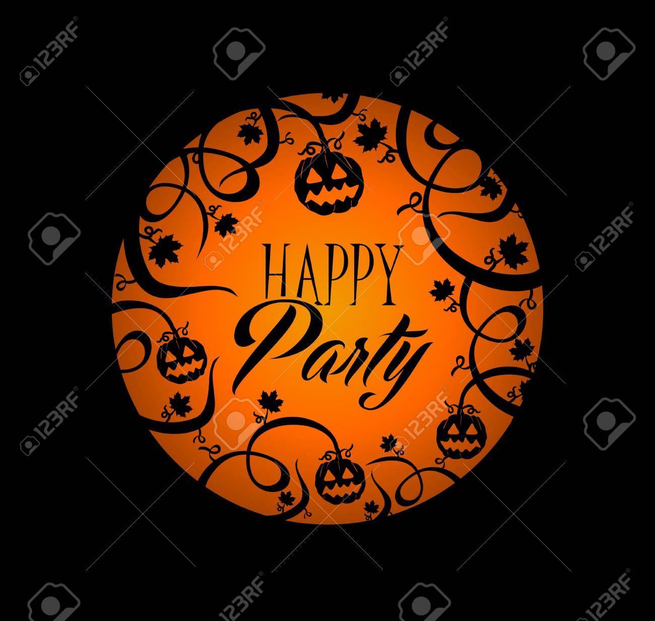 Happy Party Halloween Text Over Orange Full Moon With Pumpkin ...