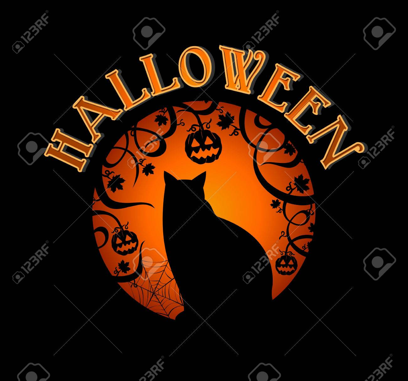 Happy Halloween spooky forest and black cat holiday elements illustration Stock Vector - 22187917