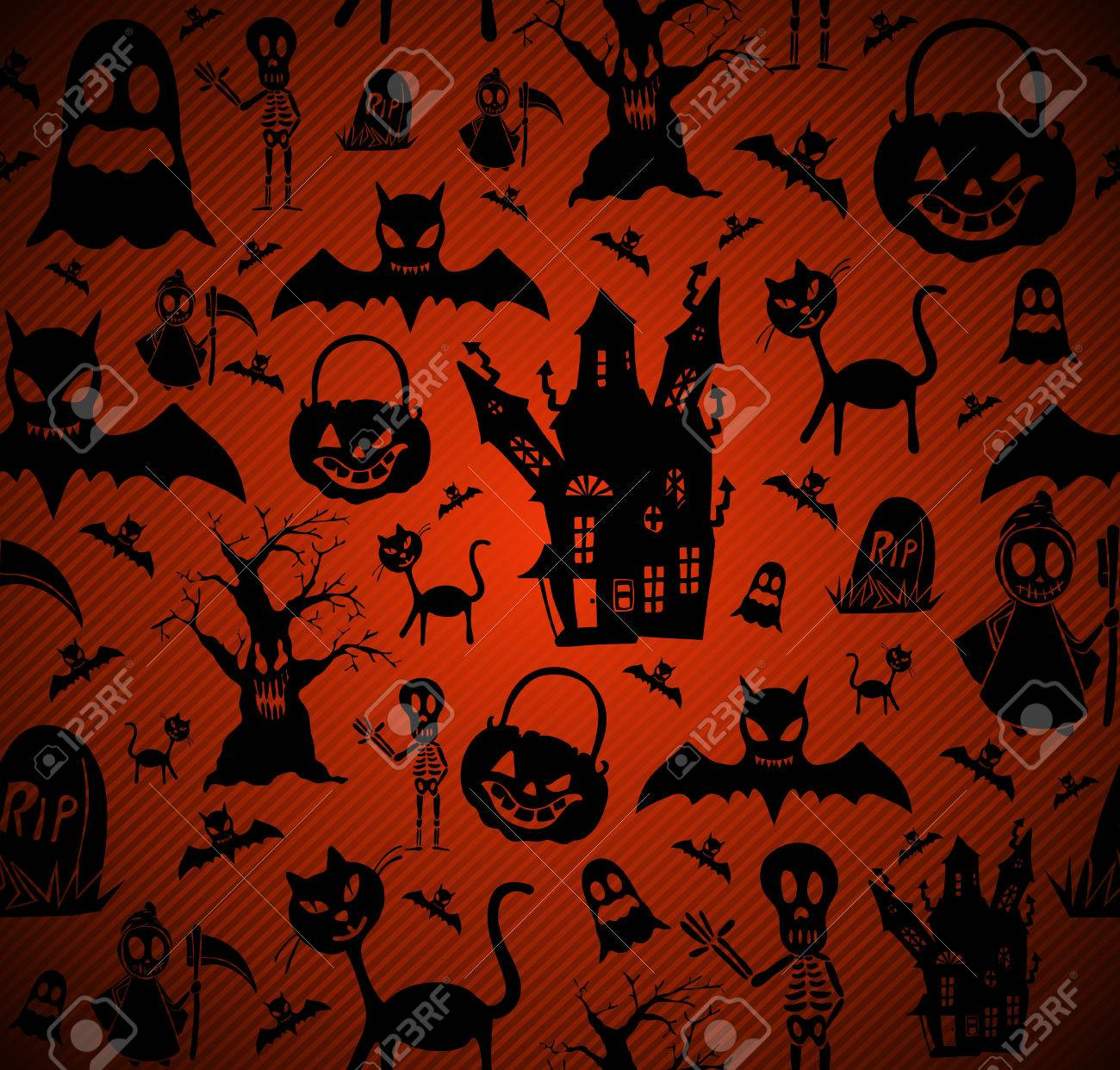 Happy Halloween elements seamless pattern background Stock Vector - 22187927