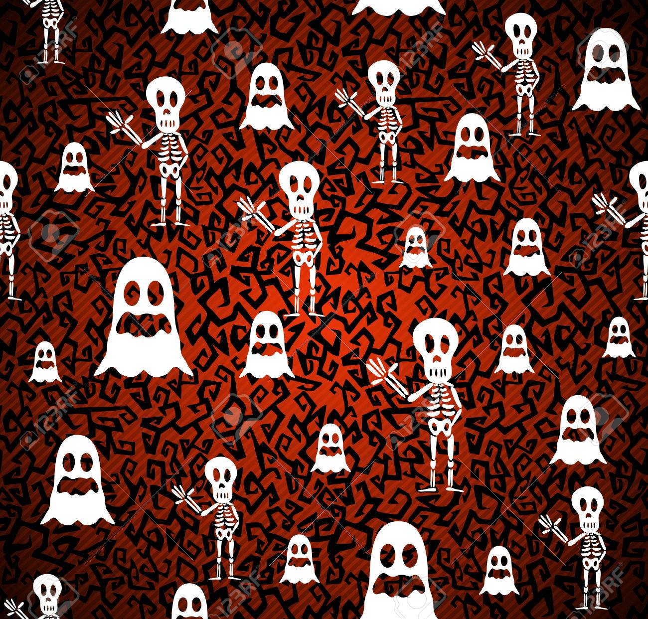 Happy Halloween ghosts and skeletons seamless pattern background Stock Vector - 22187931
