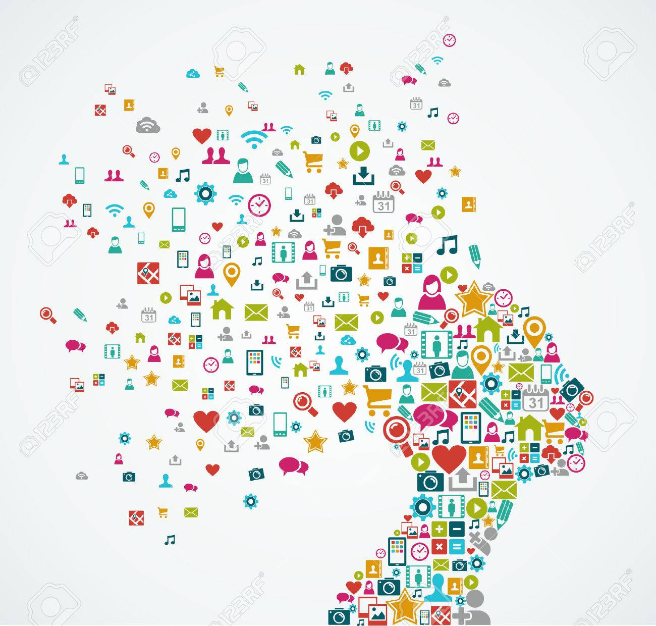 Woman head silhouette made with social media icons splash concept illustration - 22187942