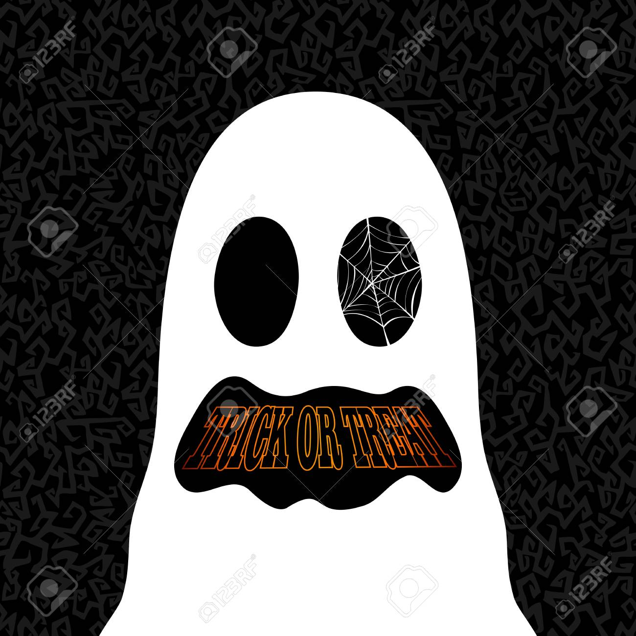 Happy Halloween trick or treat ghost illustration holiday elements. Stock Vector - 22284412