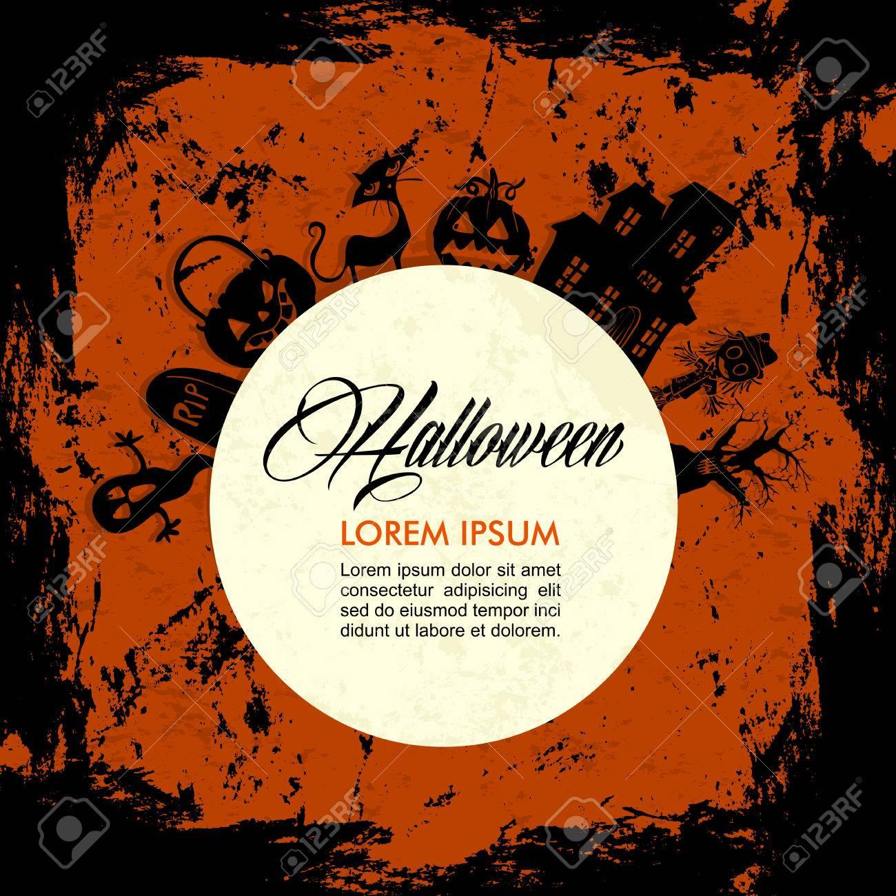 Halloween elements full moon design, customizable text over grunge background. Stock Vector - 22284415