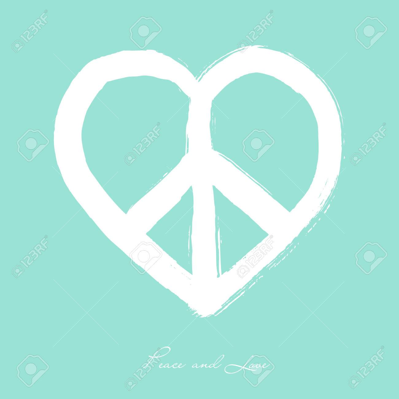 Isolated Heart Shape Peace Symbol Brush Style Composition Over