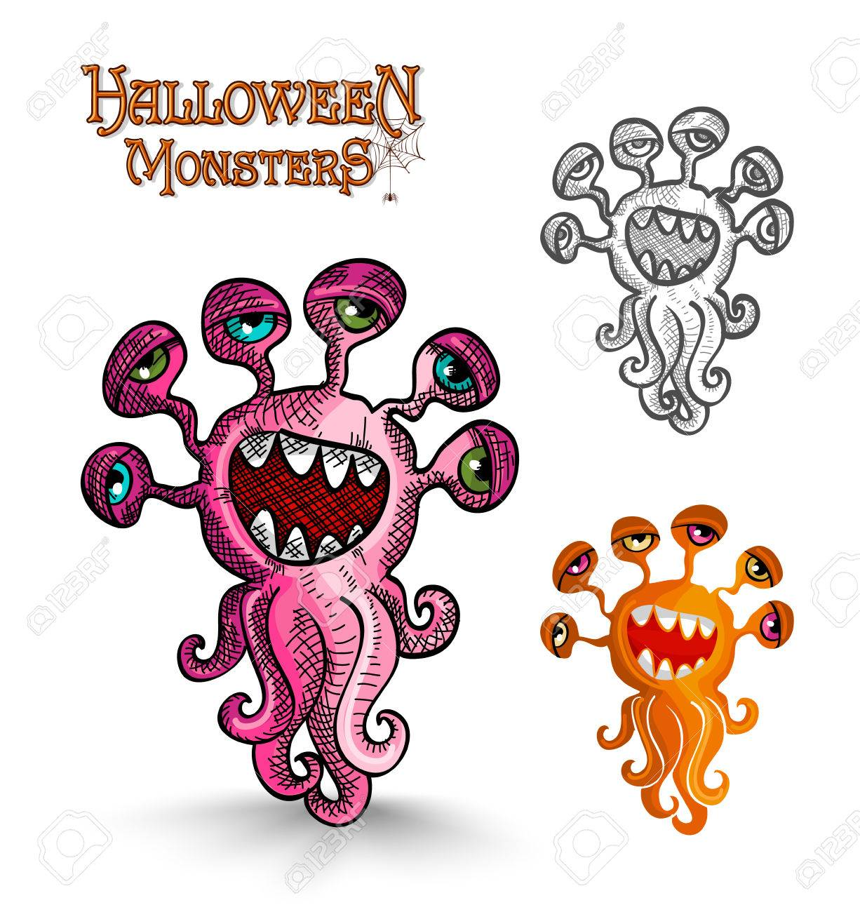 Halloween Monsters Scary Weird Eyes Squid Set. EPS10 Vector File ...