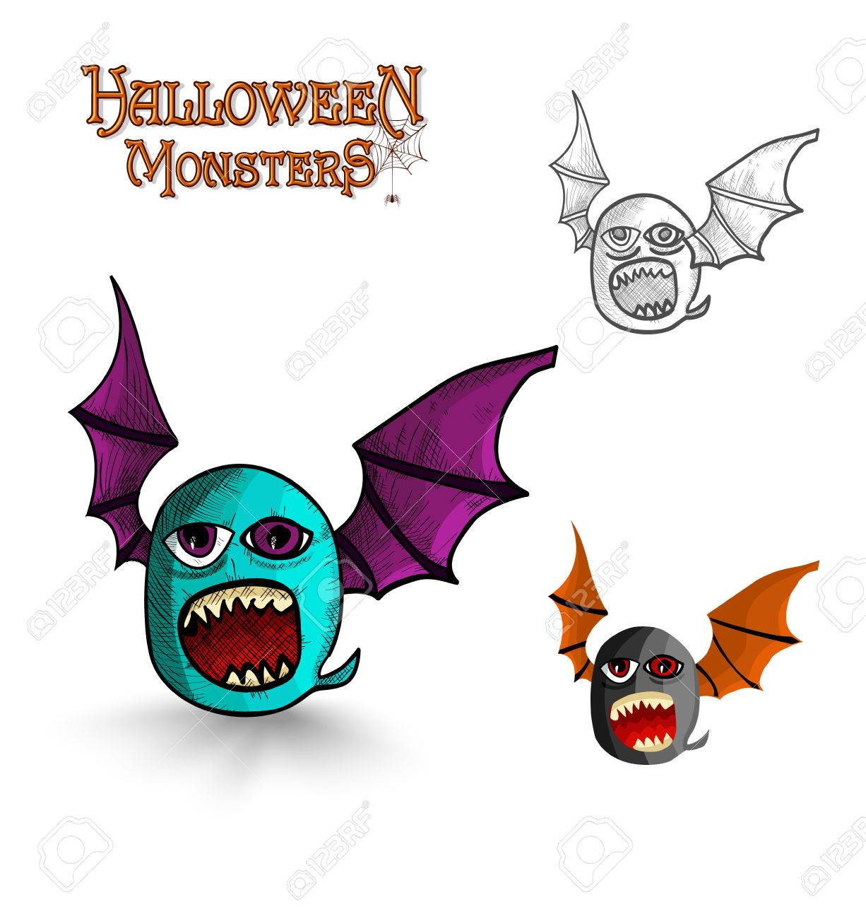 Halloween Monsters Spooky Creature Bat Set Eps10 Vector File Royalty Free Cliparts Vectors And Stock Illustration Image 22691626