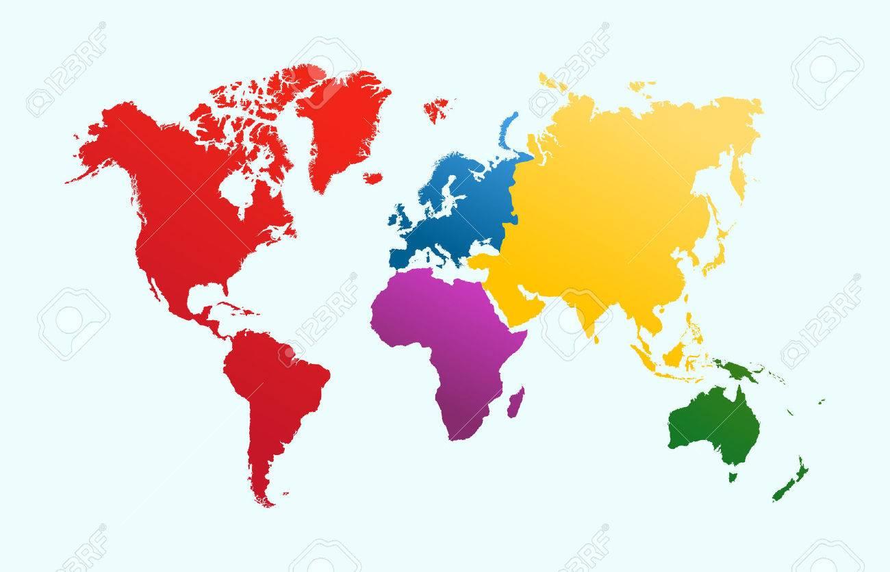 世界地図カラフルな大陸アトラス イラストeps10 ベクトル ファイルは