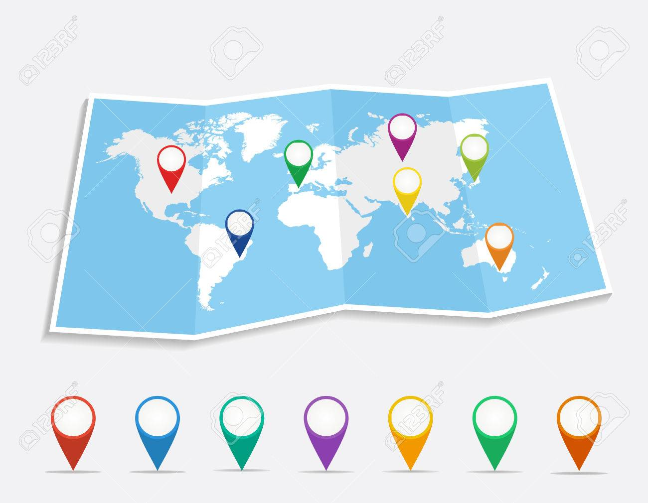 World map with geo position pins travel elements composition vector world map with geo position pins travel elements composition eps10 vector file organized in layers for easy editing gumiabroncs Choice Image