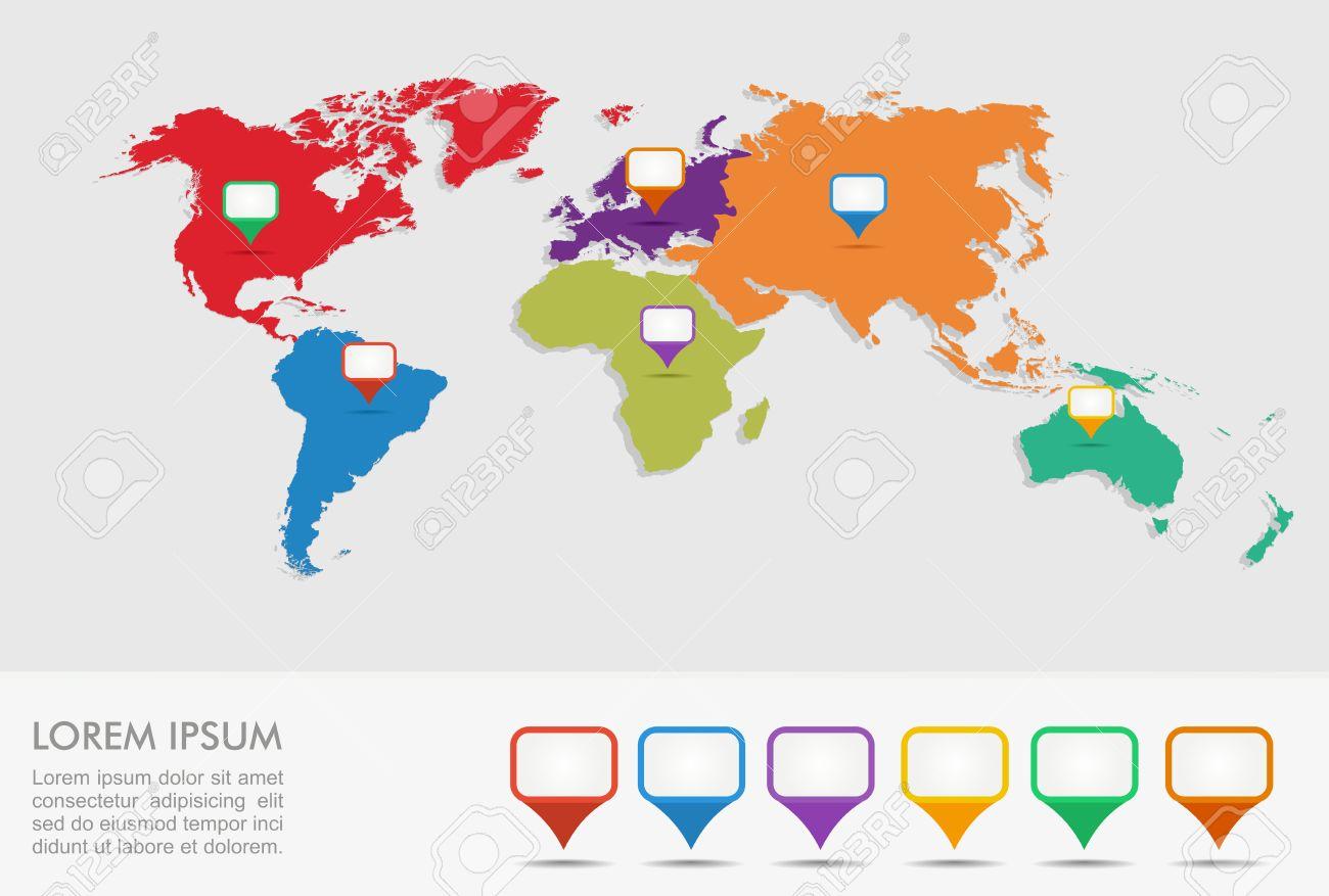 世界地図地理的位置ポインター インフォ グラフィック テンプレート