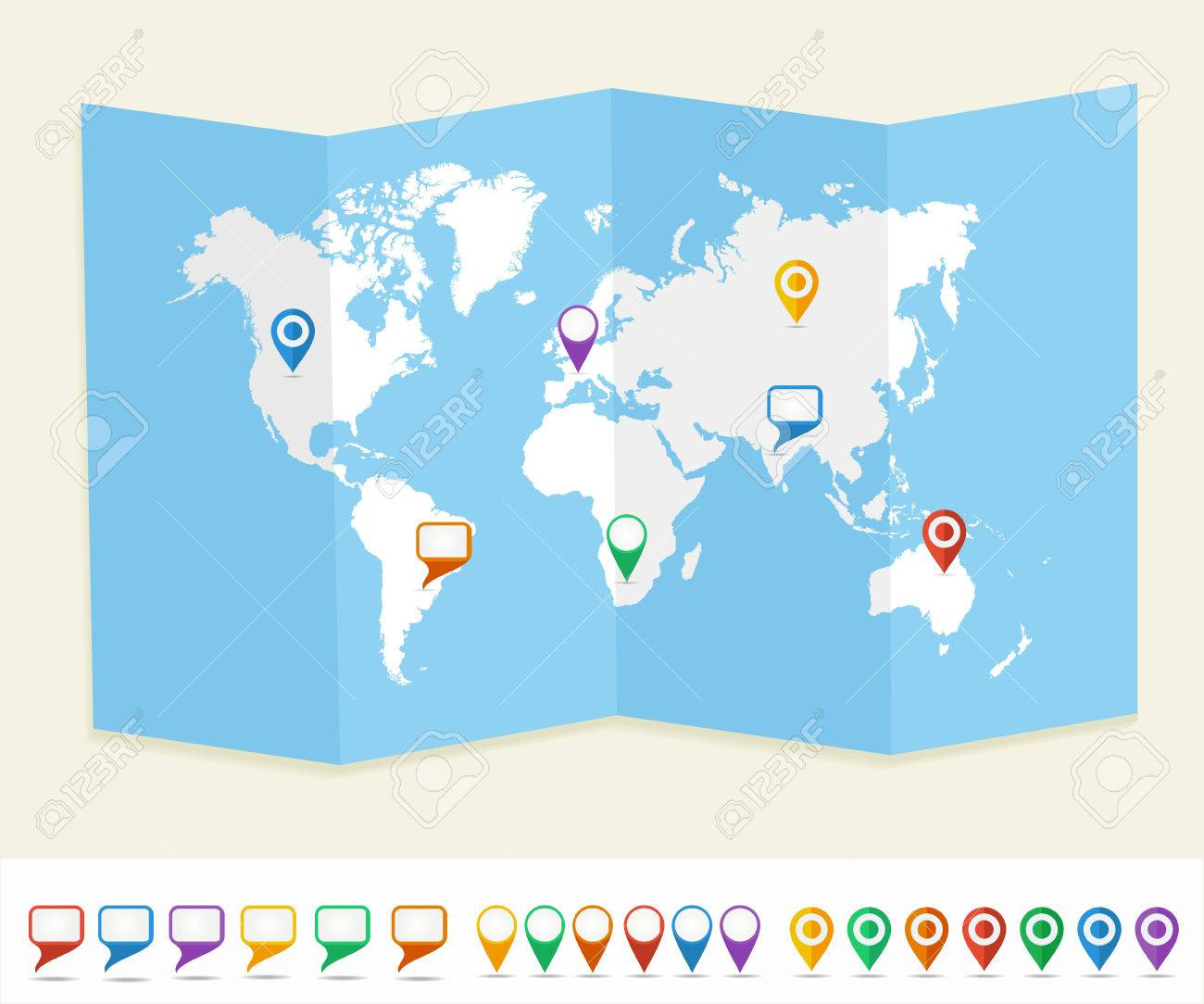World Map Gps.World Map With Gps Location Pins And Social Media Speech Bubbles
