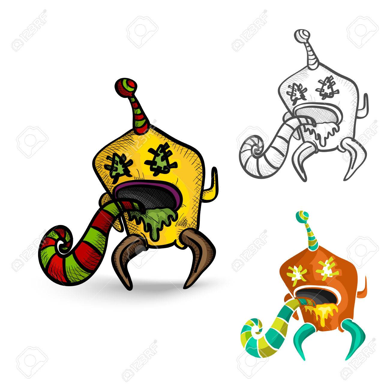 Halloween Monsters spooky hand drawn isolated freak creatures set. EPS10 vector file organized in layers for easy editing. Stock Vector - 22797074