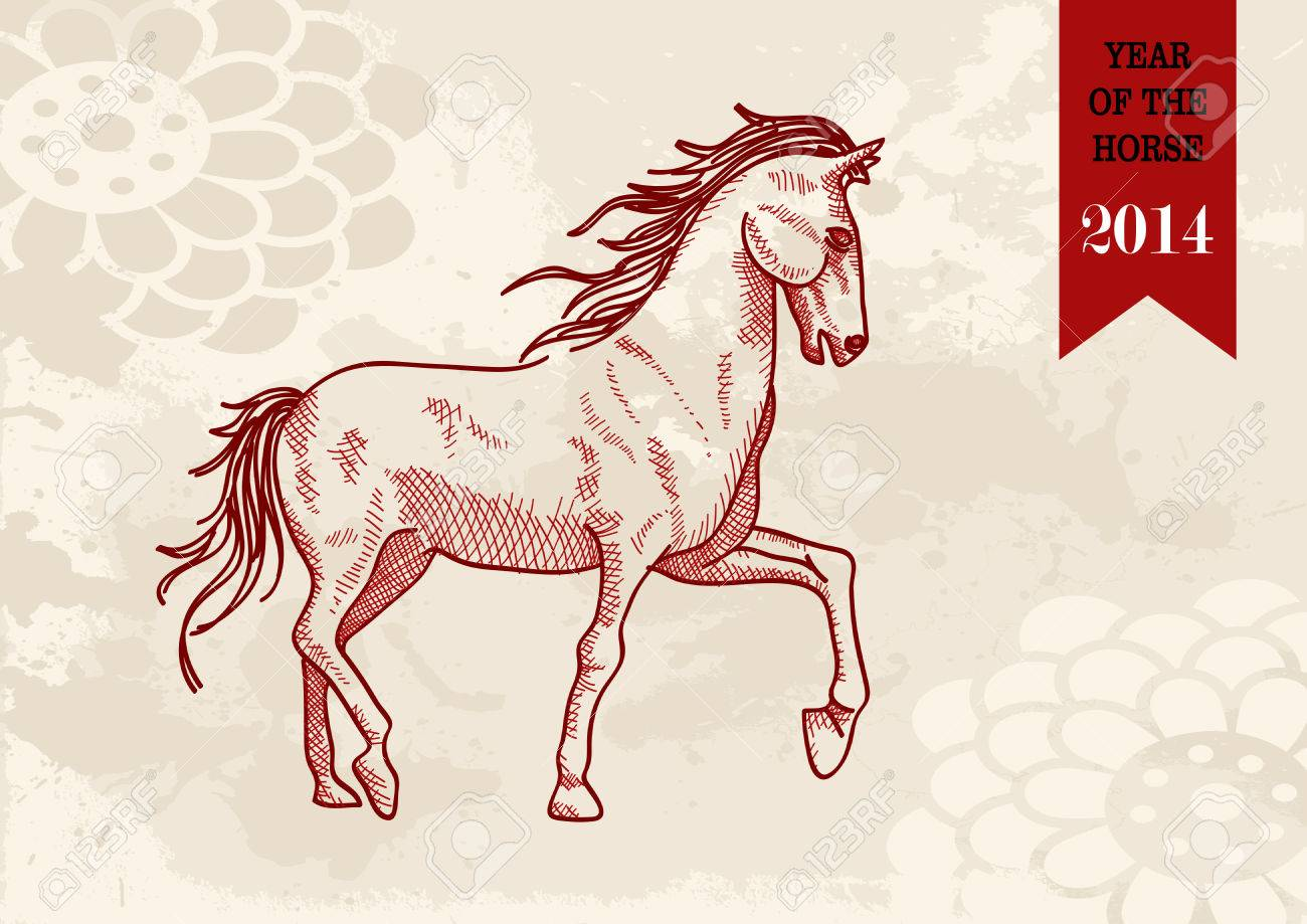 2014 Chinese New Year of the Horse sketch style illustration. Vector file organized in layers for easy editing. Stock Vector - 22952693