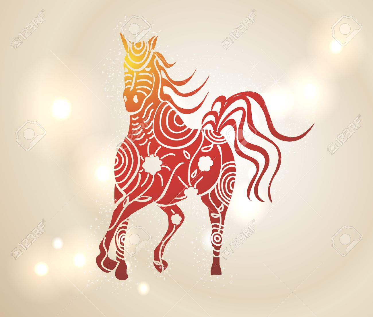 chinese new year 2014 multicolor running horse with tribal flowers design over transparent lights background - Chinese New Year 2014