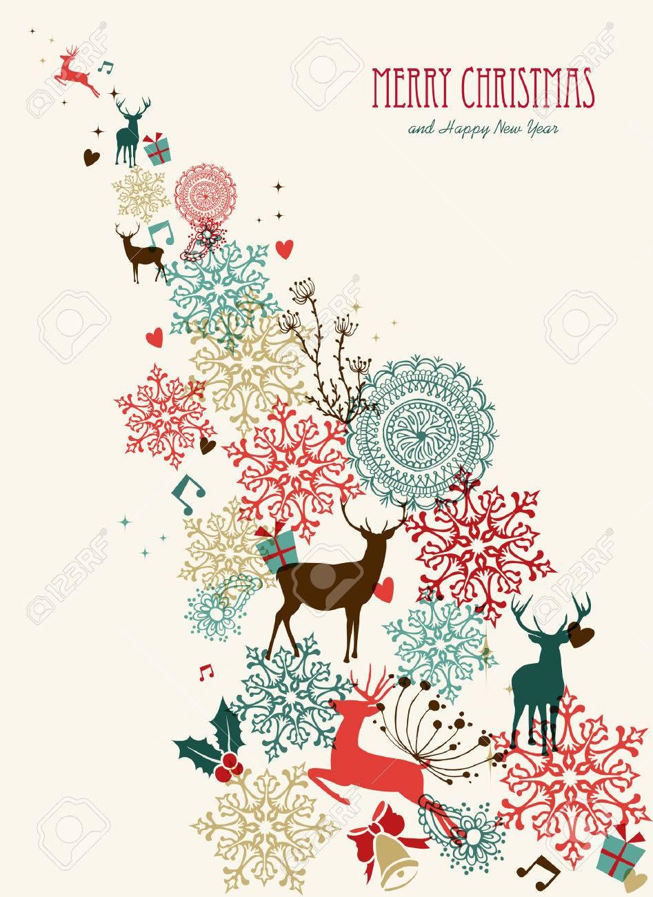 Sfondi Natalizi Renne.Vettoriale Cornice Retro Di Natale Con Le Renne Sfondo Multicolore