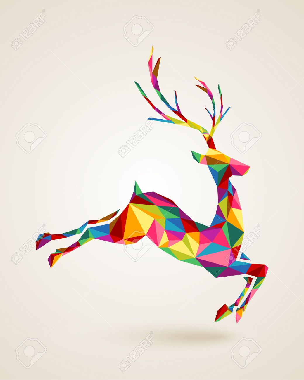 Merry Christmas Colorful Abstract Reindeer With Geometric Origami Composition EPS10 Vector File Organized In Layers