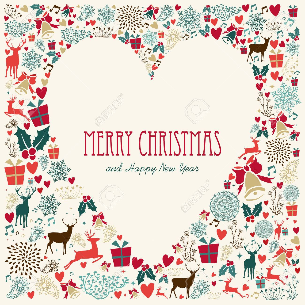 Vintage Christmas Heart love elements background. EPS10 vector file organized in layers for easy editing. Stock Vector - 24098586