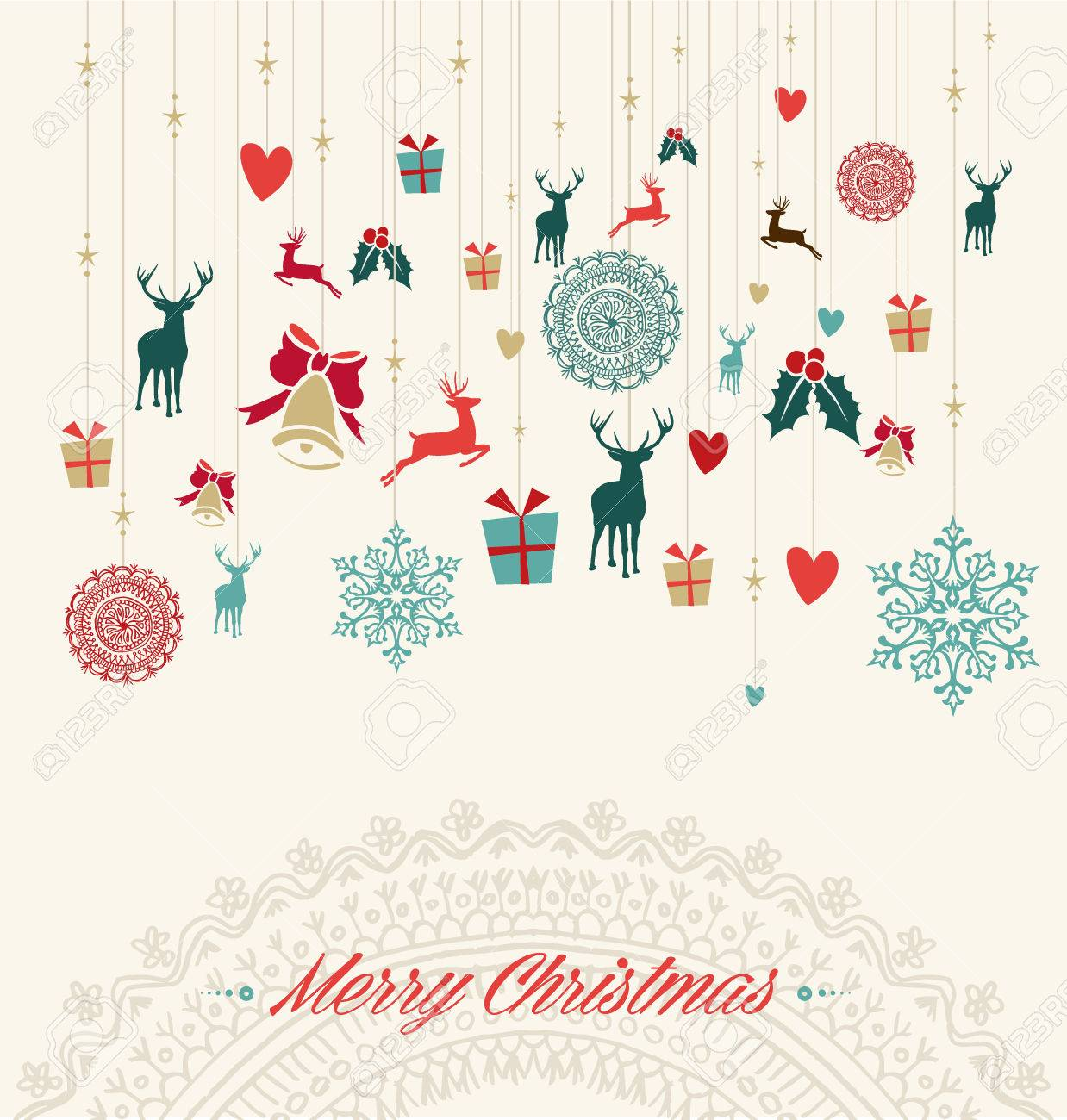 Merry Christmas Holiday Vintage Hanging Elements Greeting Card. Vector File  Organized In Layers For Easy