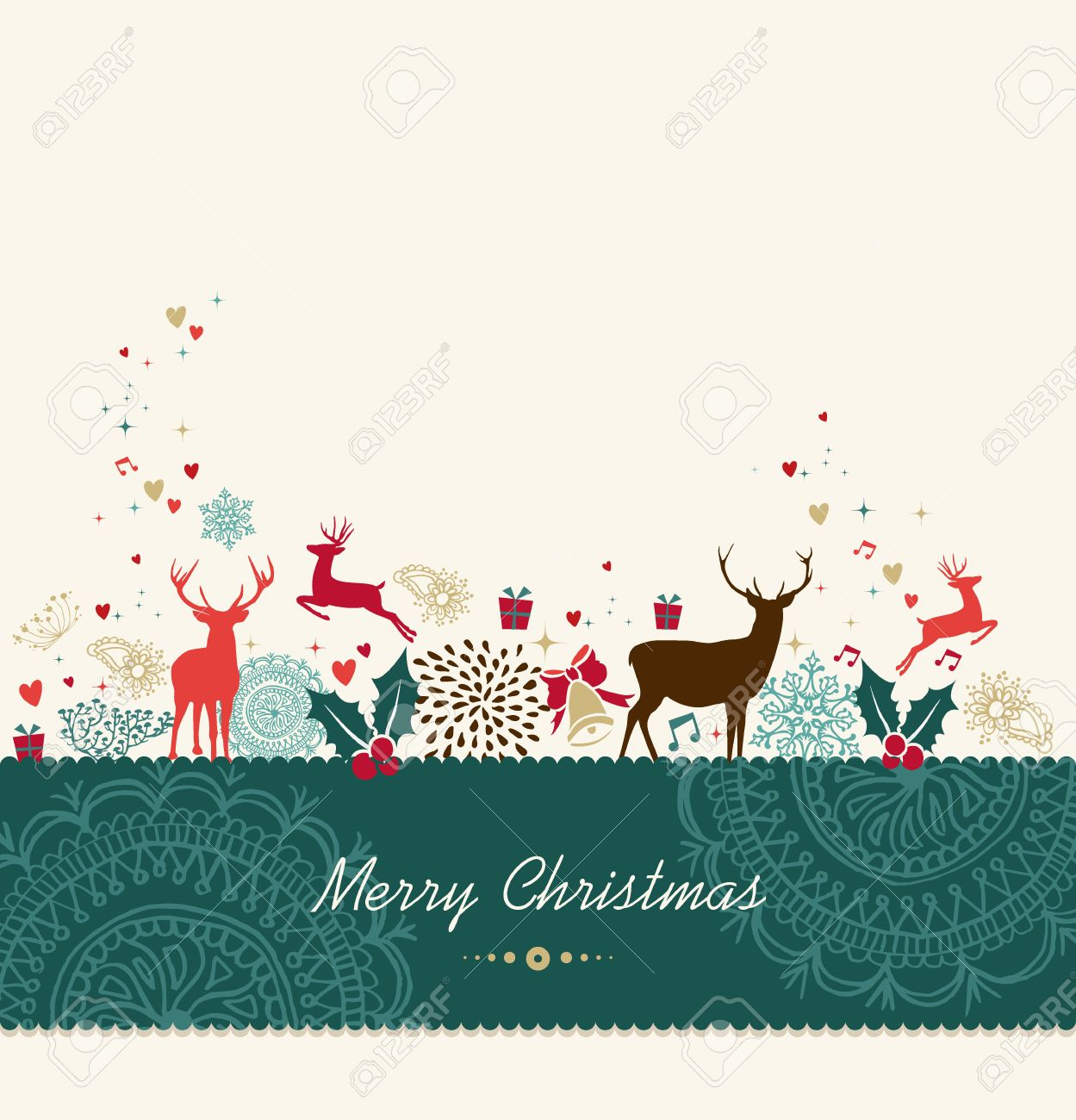 Merry Christmas Card Background With Vintage Holiday Elements ...