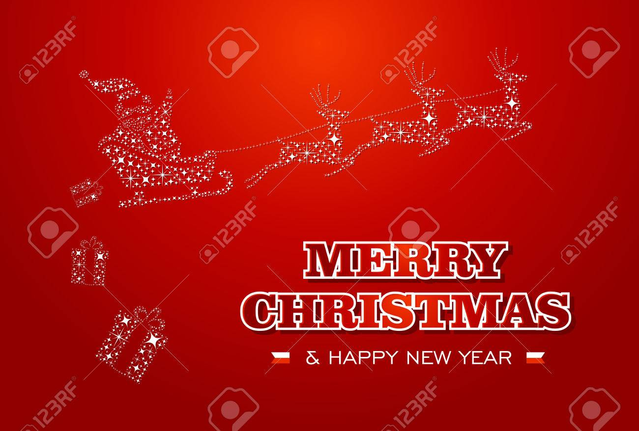 Merry christmas and happy new year 2014 santa with reindeer stars merry christmas and happy new year 2014 santa with reindeer stars shape greeting card eps10 m4hsunfo