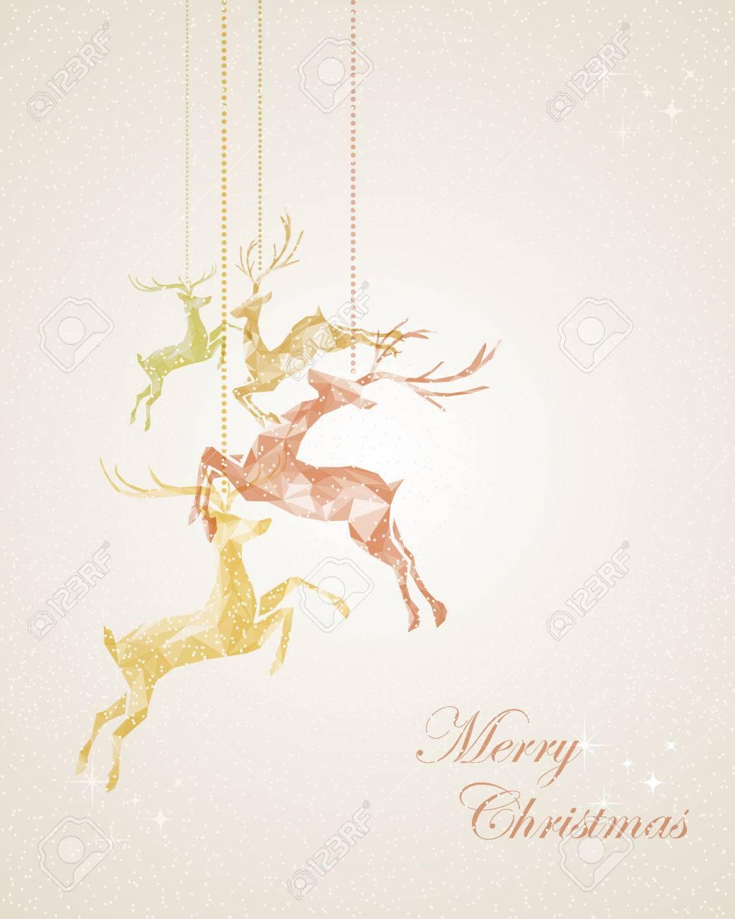 feliz navidad del vintage textura abstracta renos ejemplo de la tarjeta postal archivo vectorial eps