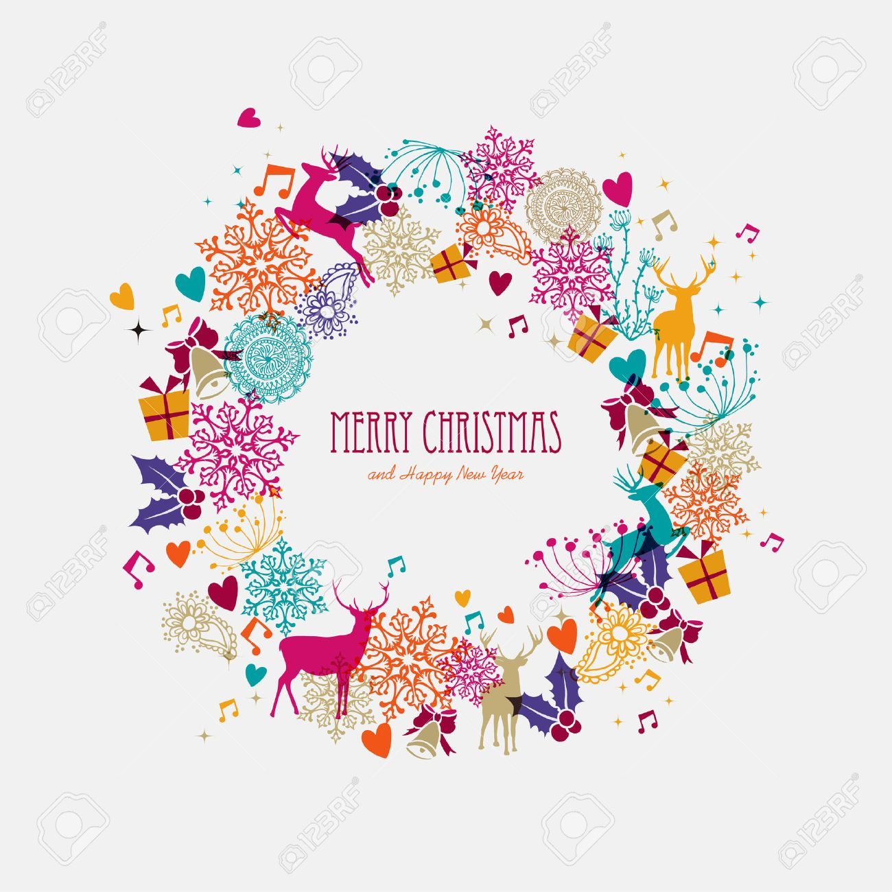 Merry Christmas Wreath Colorful Transparent Holiday Elements Background EPS10 Vector File Organized In Layers For