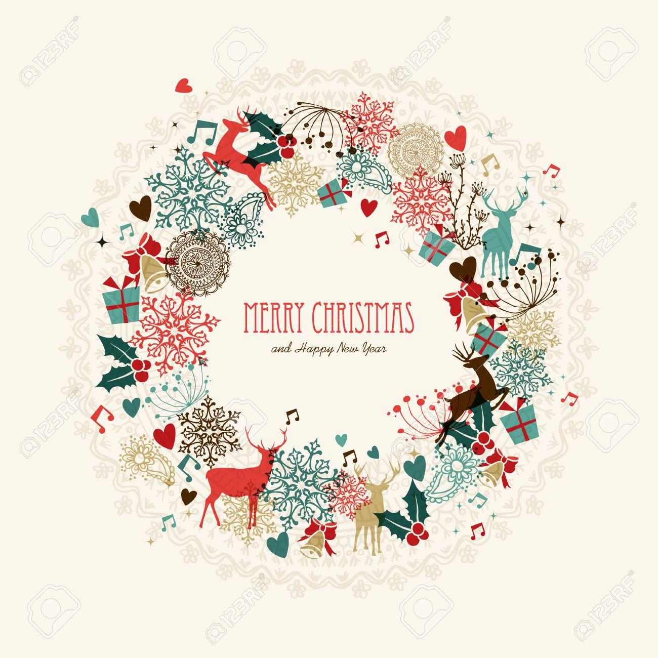 Vintage Christmas Garland Transparent Colors Elements Postcard