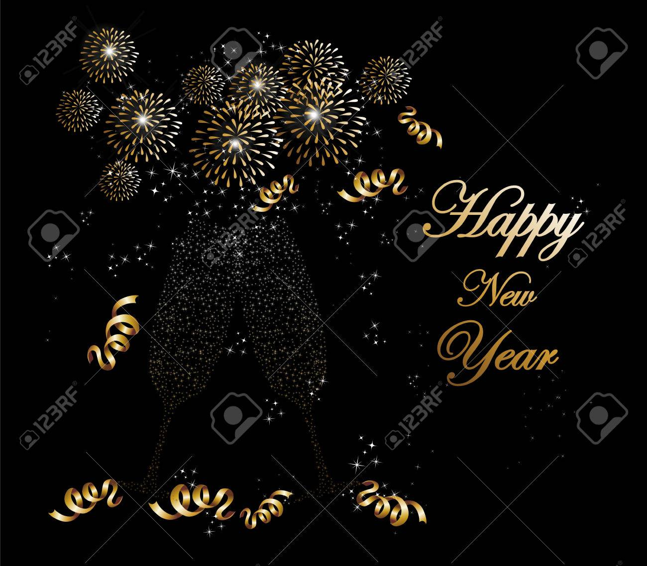 Happy new year 2014 holidays fireworks and flute glass greeting happy new year 2014 holidays fireworks and flute glass greeting card background stock vector m4hsunfo