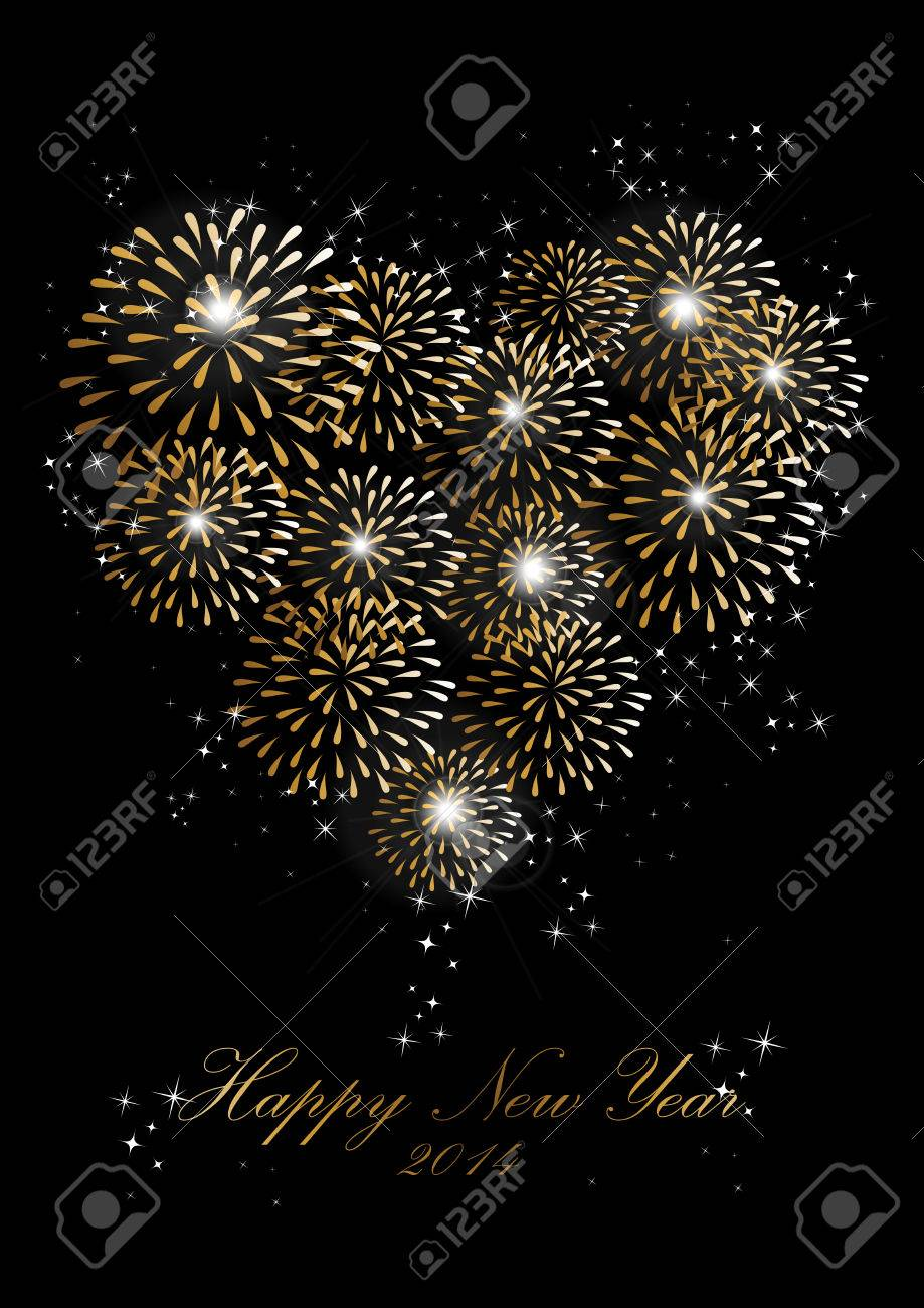 happy new year 2014 holidays heart love fireworks greeting card background stock vector 24753913