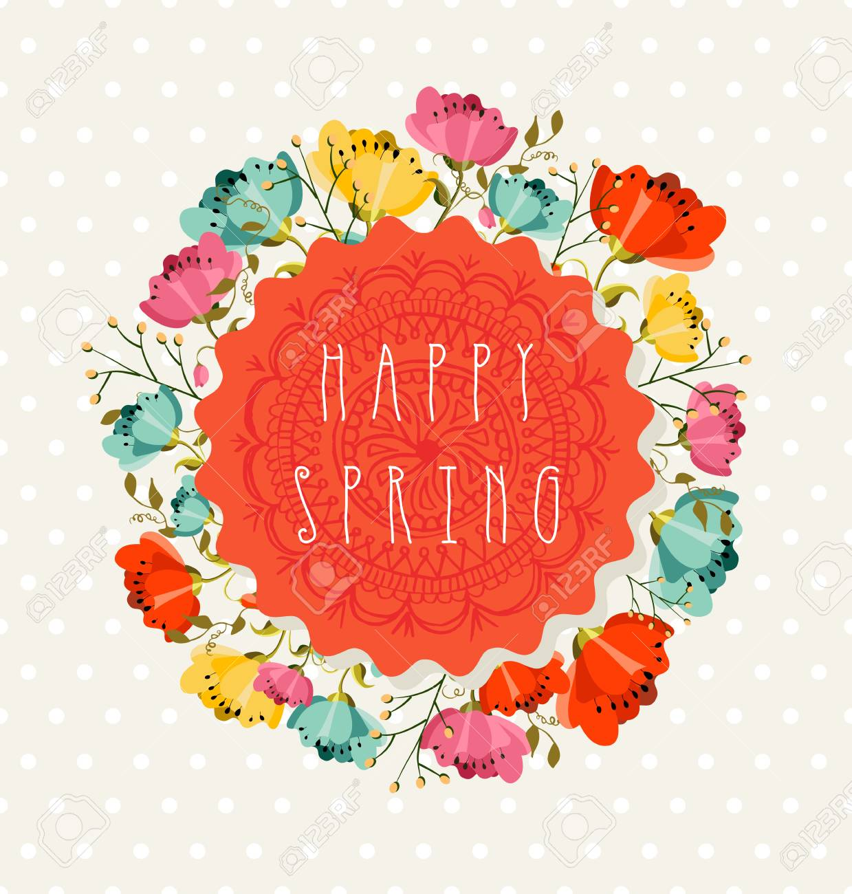 Colorful happy spring greeting card with flowers bouquet composition colorful happy spring greeting card with flowers bouquet composition eps10 vector file organized in layers m4hsunfo
