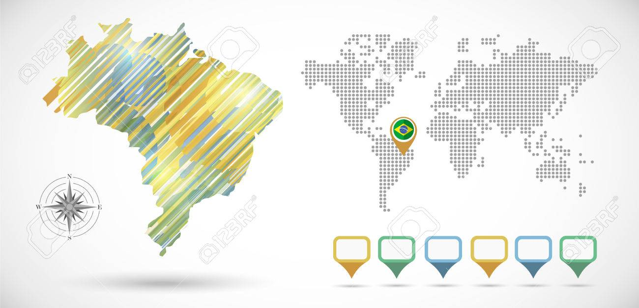 Infographic Brazil Map With Dotted Map World EPS10 Vector With – Map World Brazil