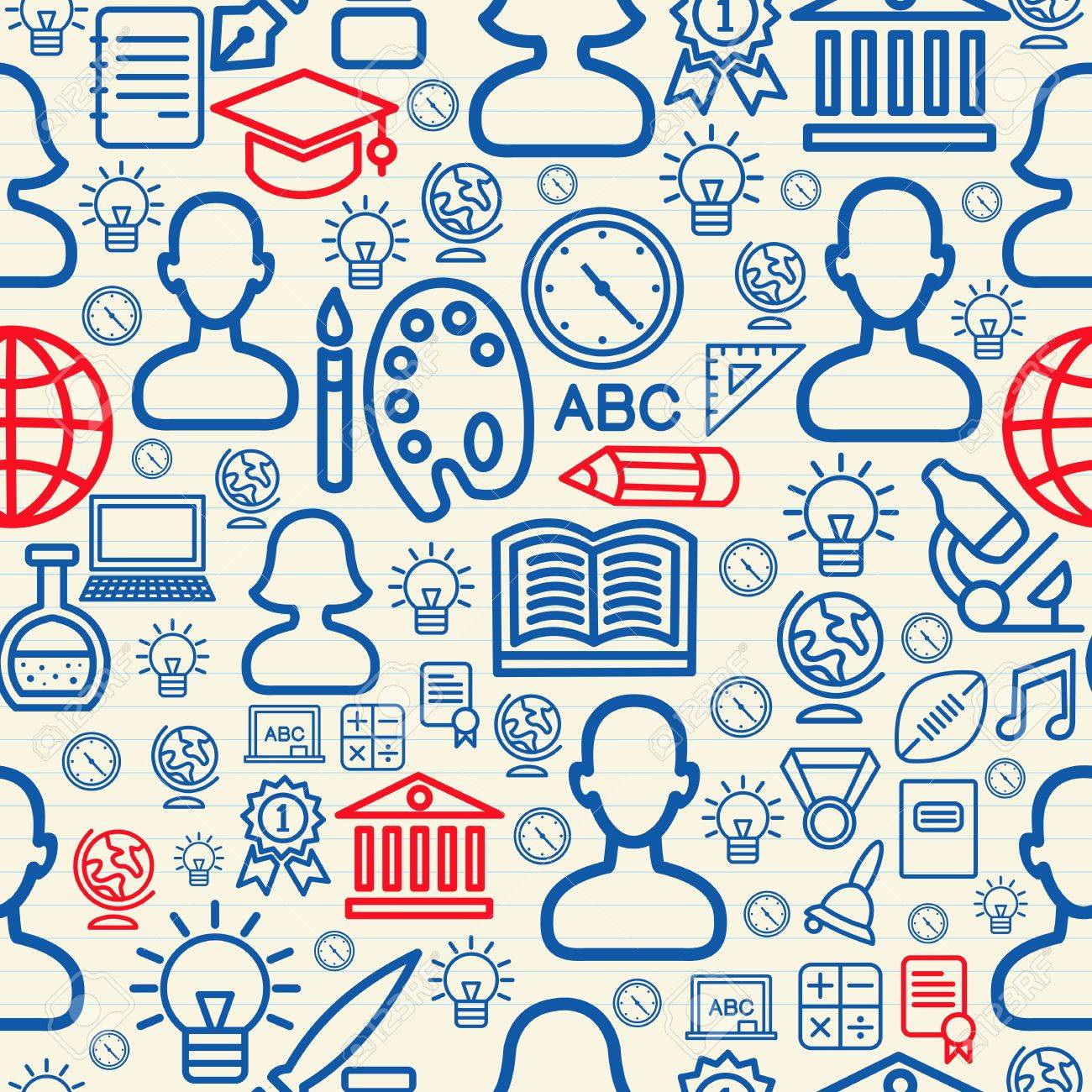 Education seamless pattern background with school icons and symbols