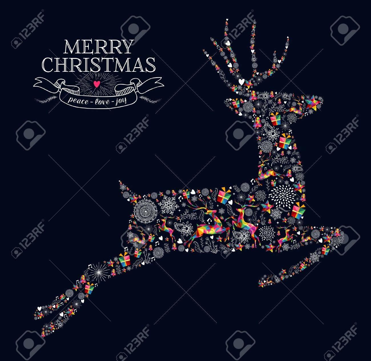 Cartoline Di Auguri Di Natale.Vettoriale Cartolina D Auguri Di Natale Saltando Forma Renne In