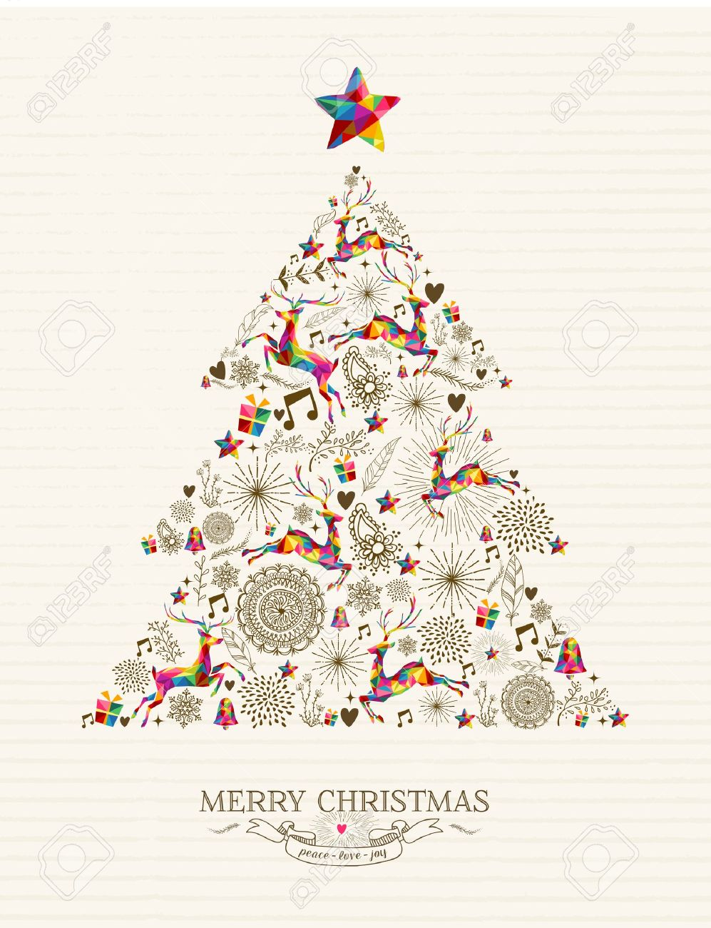 32614578 vintage christmas tree shape with colorful reindeer and retro label greeting card