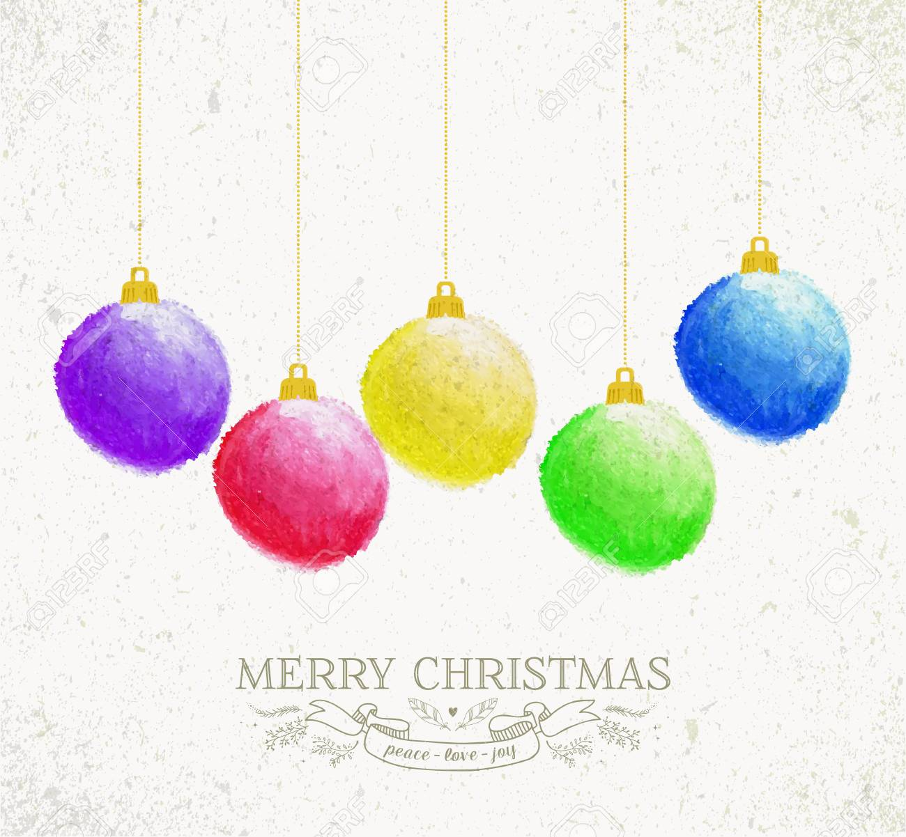 Frohe Weihnachten Öl-Pastellkunst Flitter Grußkarte. Lizenzfrei ...