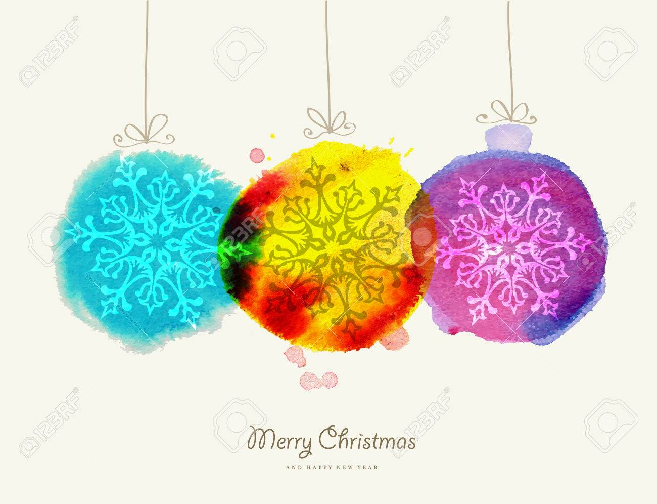 Merry christmas greeting card handmade baubles watercolor texture merry christmas greeting card handmade baubles watercolor texture illustration eps10 vector file organized in layers kristyandbryce Gallery